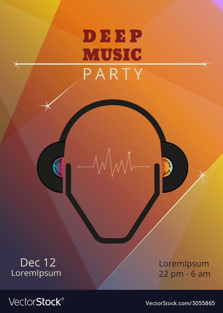 Deep music party poster vector | Price: 1 Credit (USD $1)