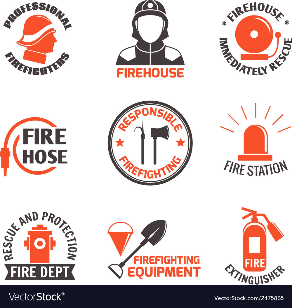 Firefighting label set vector | Price: 1 Credit (USD $1)