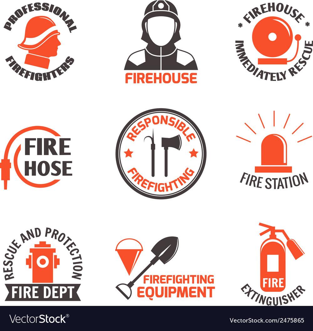 Firefighting label set vector | Price: 1 Credit (USD $1)