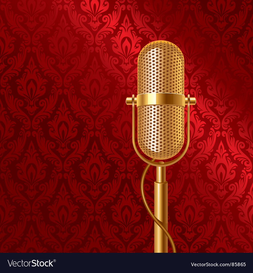 Golden microphone vector | Price: 1 Credit (USD $1)