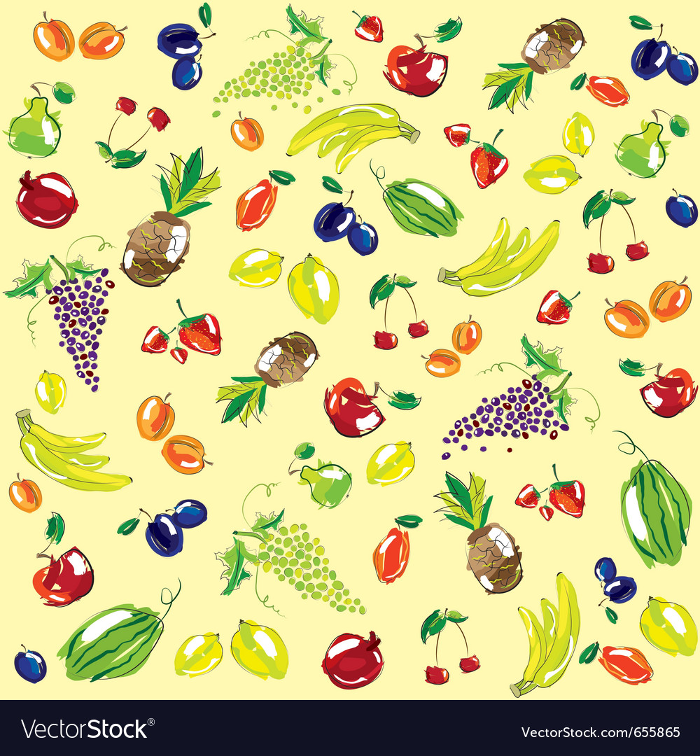 Hand sketched fruit pattern vector | Price: 1 Credit (USD $1)