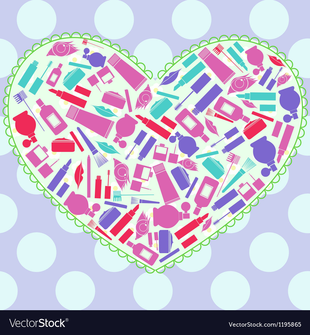 Heart with makeup attributes vector | Price: 1 Credit (USD $1)