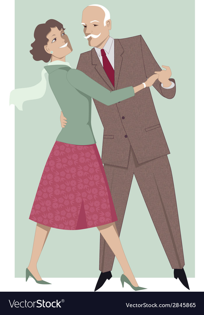 Senior couple dancing waltz vector | Price: 1 Credit (USD $1)
