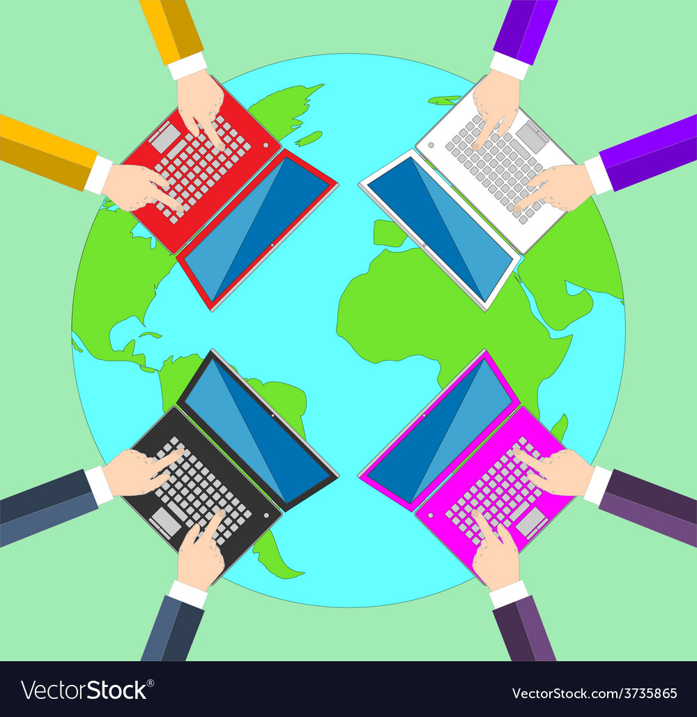 Teamwork concept of global business communication vector | Price: 1 Credit (USD $1)