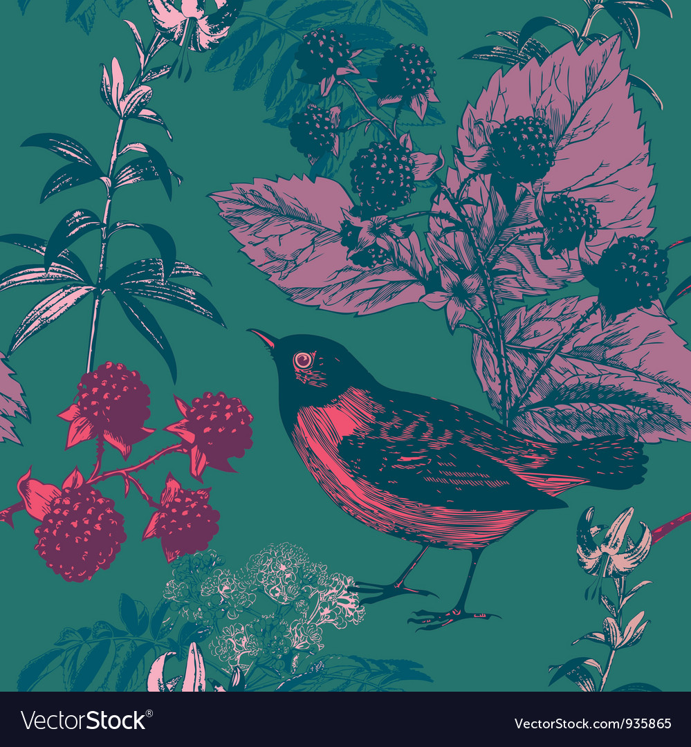 Vintage bird floral pattern vector | Price: 1 Credit (USD $1)