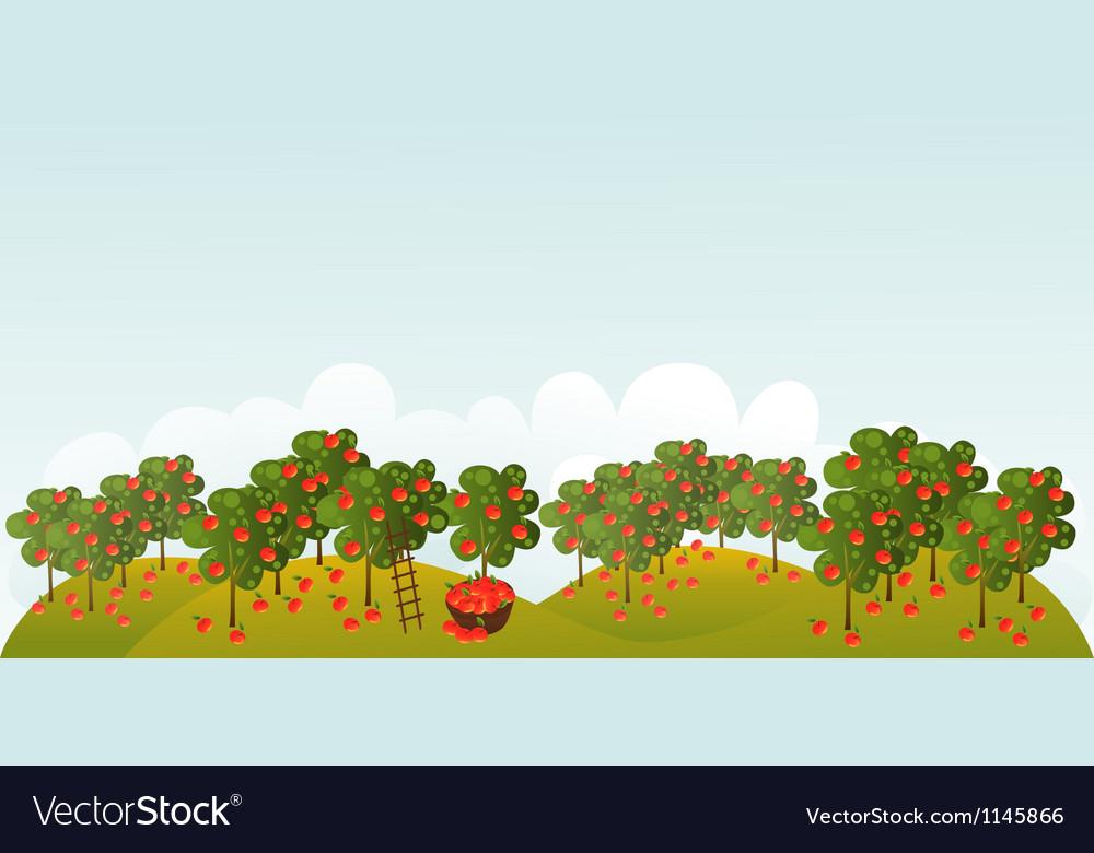 Apple garden vector | Price: 1 Credit (USD $1)