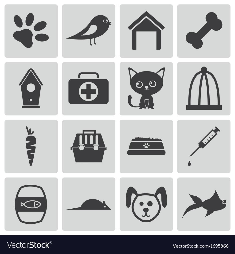 Black pet icons set vector | Price: 1 Credit (USD $1)
