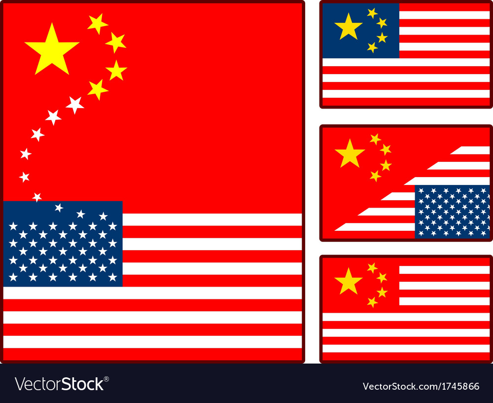 China and united states flags vector | Price: 1 Credit (USD $1)