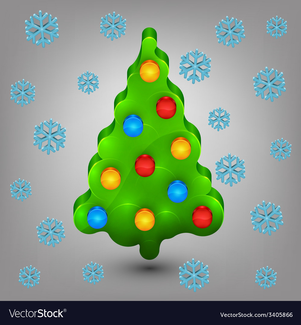 Christmas tree with toys snow vector | Price: 1 Credit (USD $1)