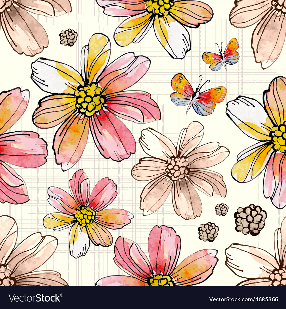 Flower seamless texture watercolor vector | Price: 1 Credit (USD $1)