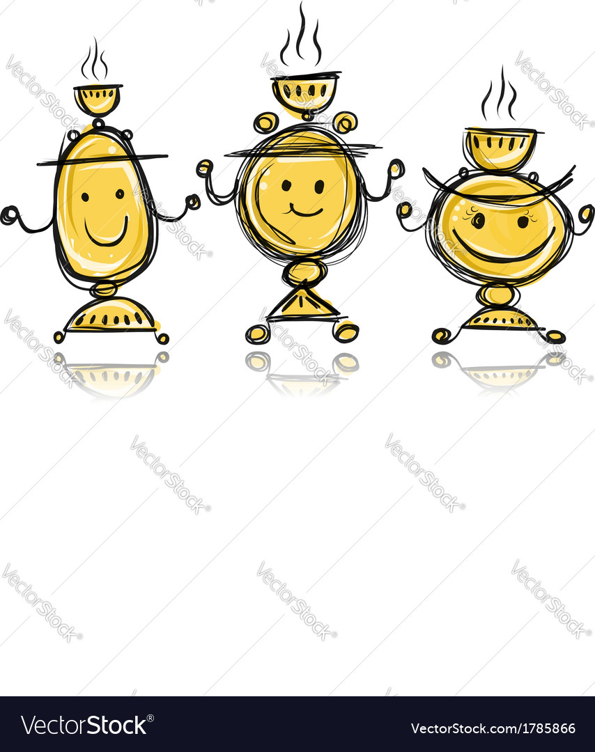 Funny samovars sketch for your design vector | Price: 1 Credit (USD $1)