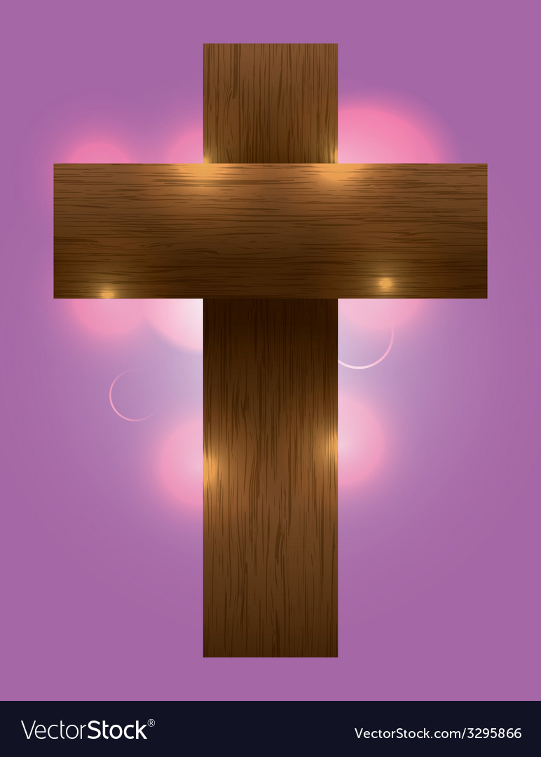 Glowing wooden cross vector | Price: 1 Credit (USD $1)