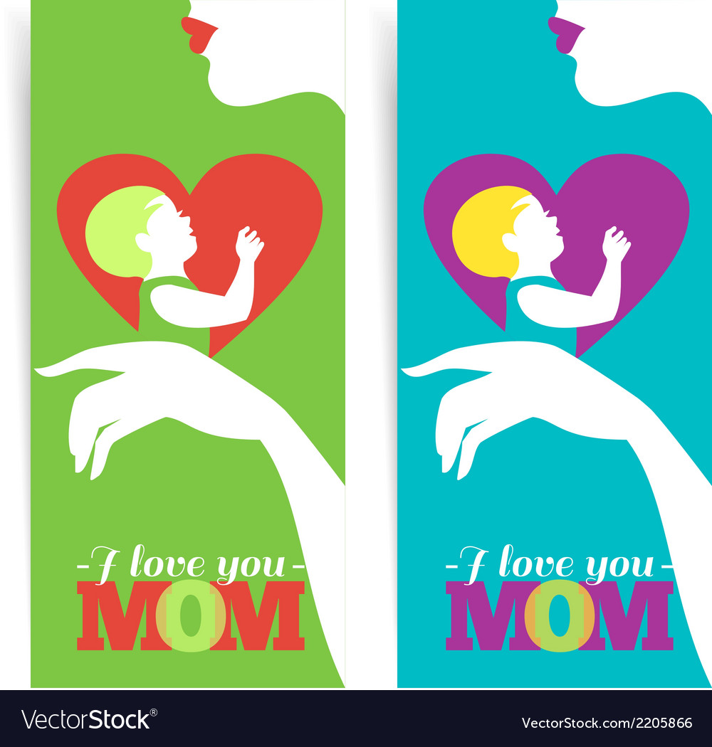 Happy mothers day banners of beautiful silhouette vector | Price: 1 Credit (USD $1)