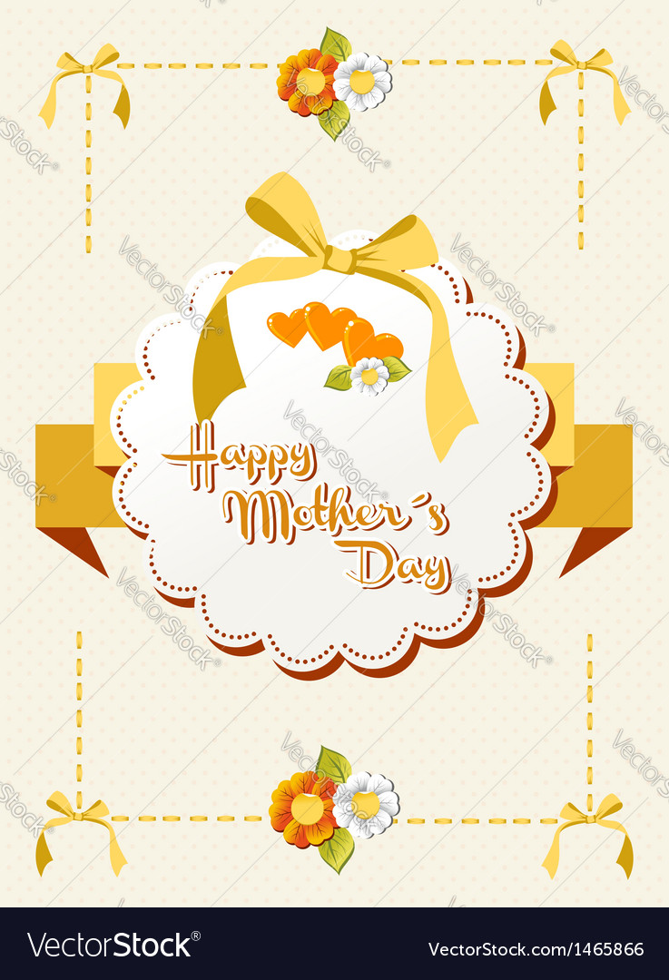 Happy mothers day ribbon background vector | Price: 1 Credit (USD $1)