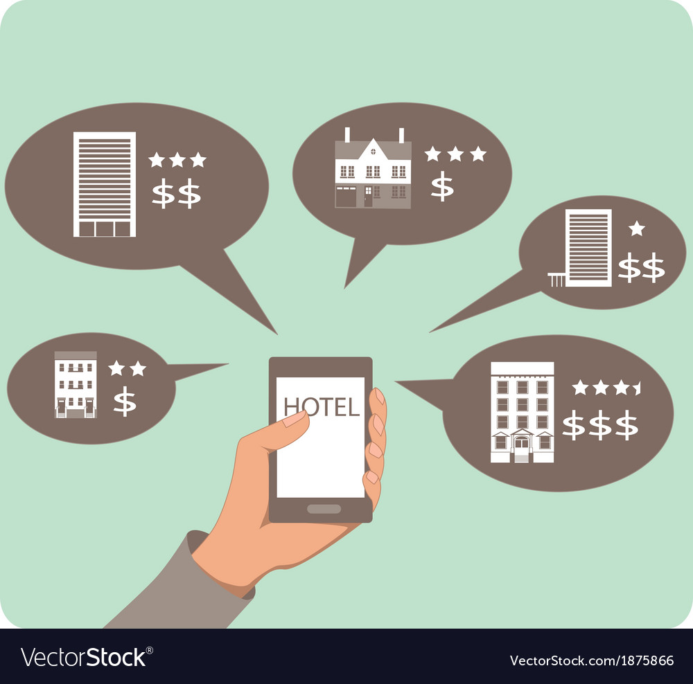 Mobile search for hotels vector | Price: 1 Credit (USD $1)
