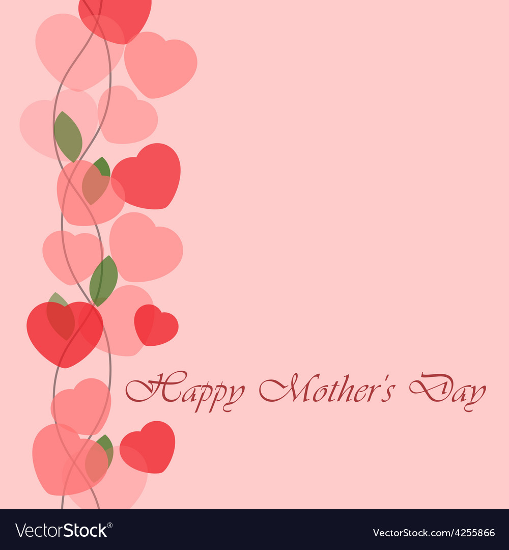 Mothers day greeting card with hearts vector | Price: 1 Credit (USD $1)