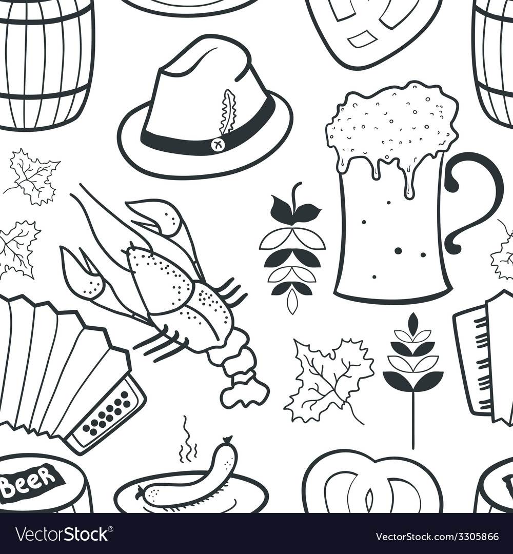 Oktoberfest seamless pattern vector | Price: 1 Credit (USD $1)