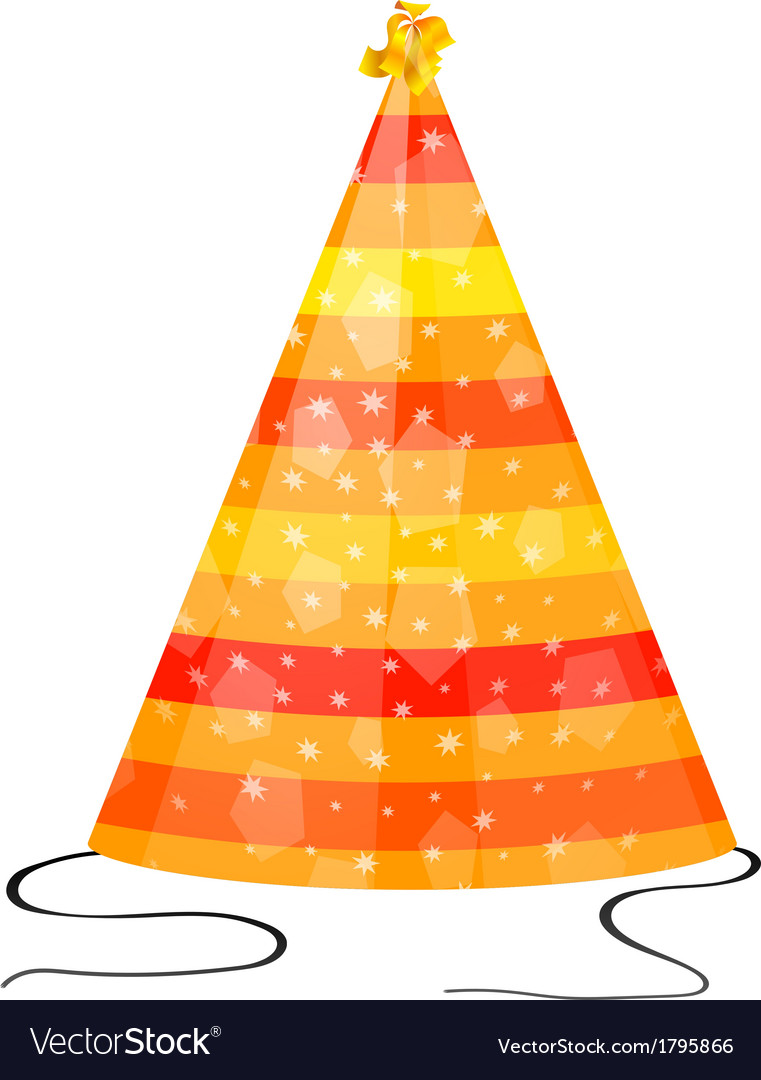 Orange hat for party on a white background vector | Price: 1 Credit (USD $1)