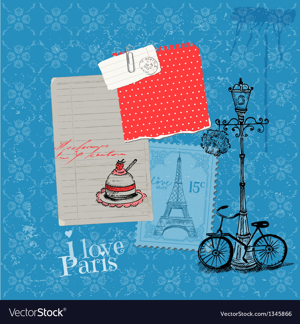 Paris vintage card with stamps vector | Price: 1 Credit (USD $1)