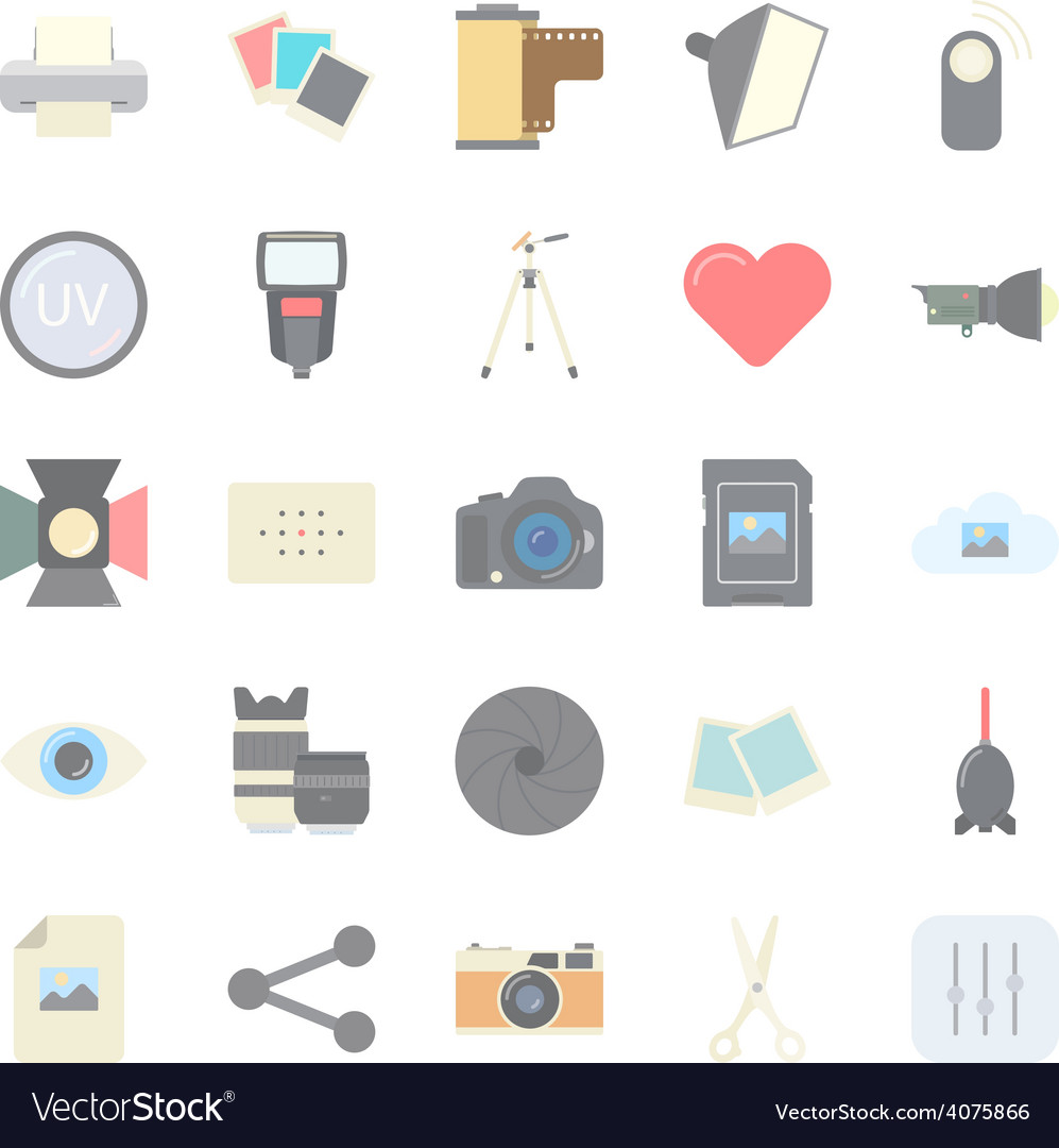 Photo equipment end editing flat icons set vector | Price: 1 Credit (USD $1)