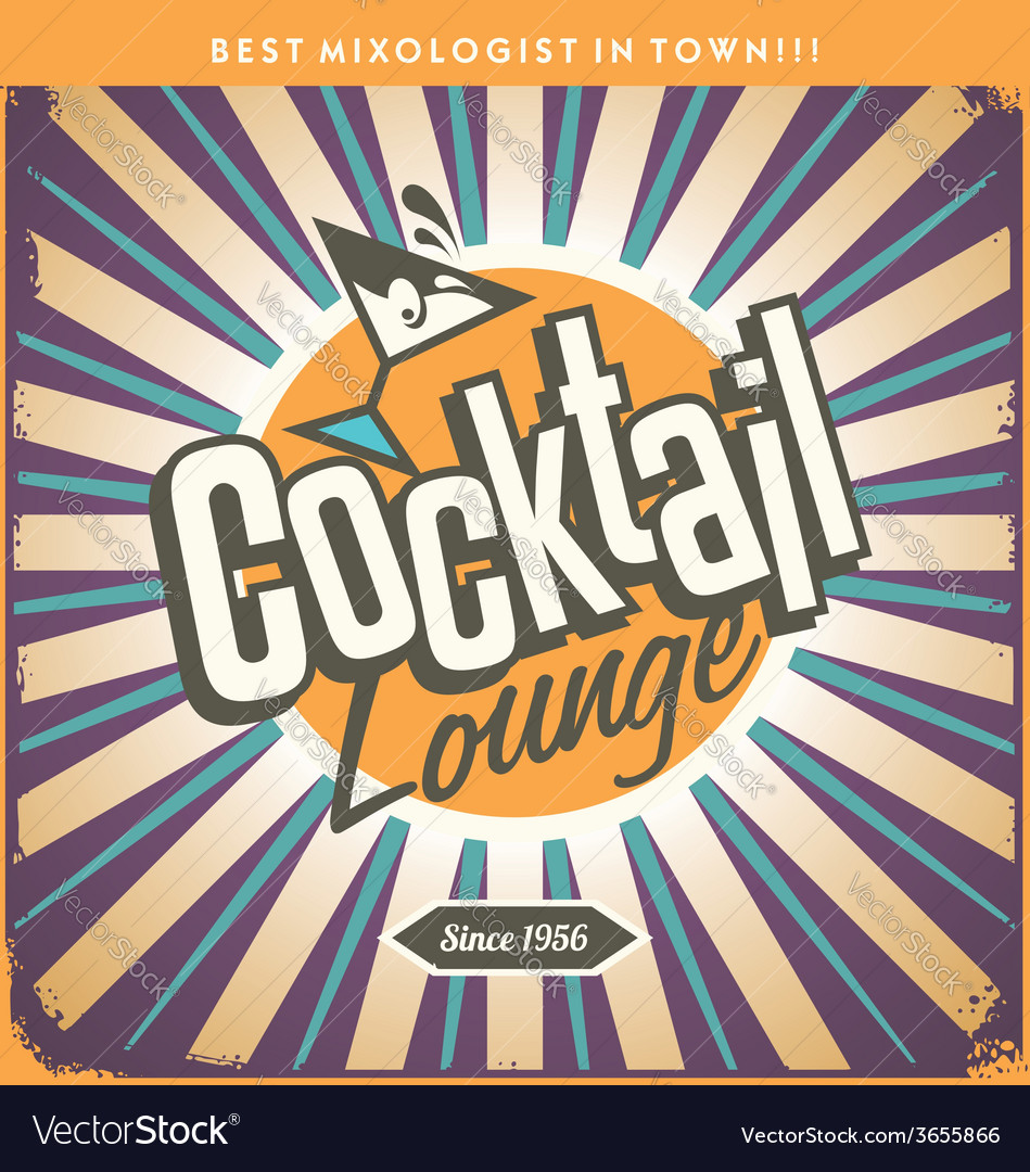 Retro tin sign design for cocktail lounge vector | Price: 1 Credit (USD $1)