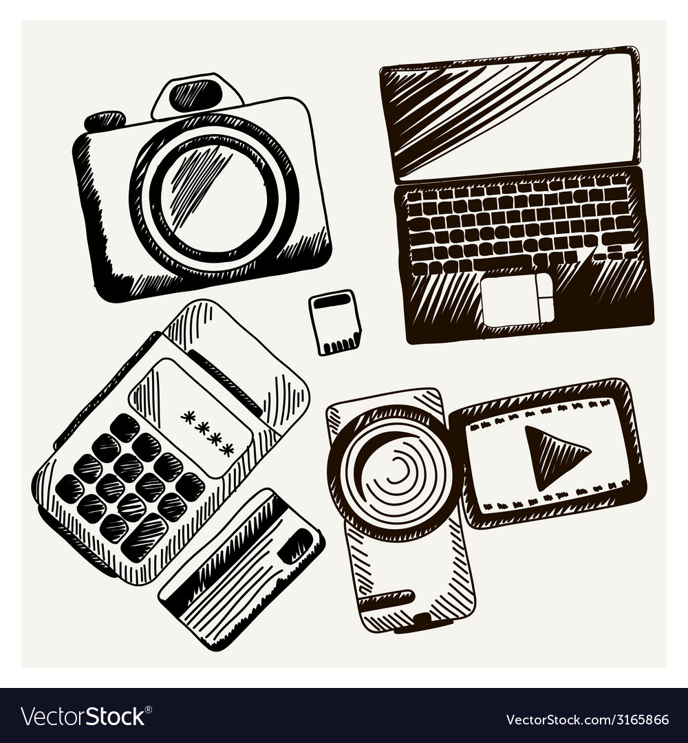 Sheet of paper with camera laptop cash mashines vector | Price: 1 Credit (USD $1)