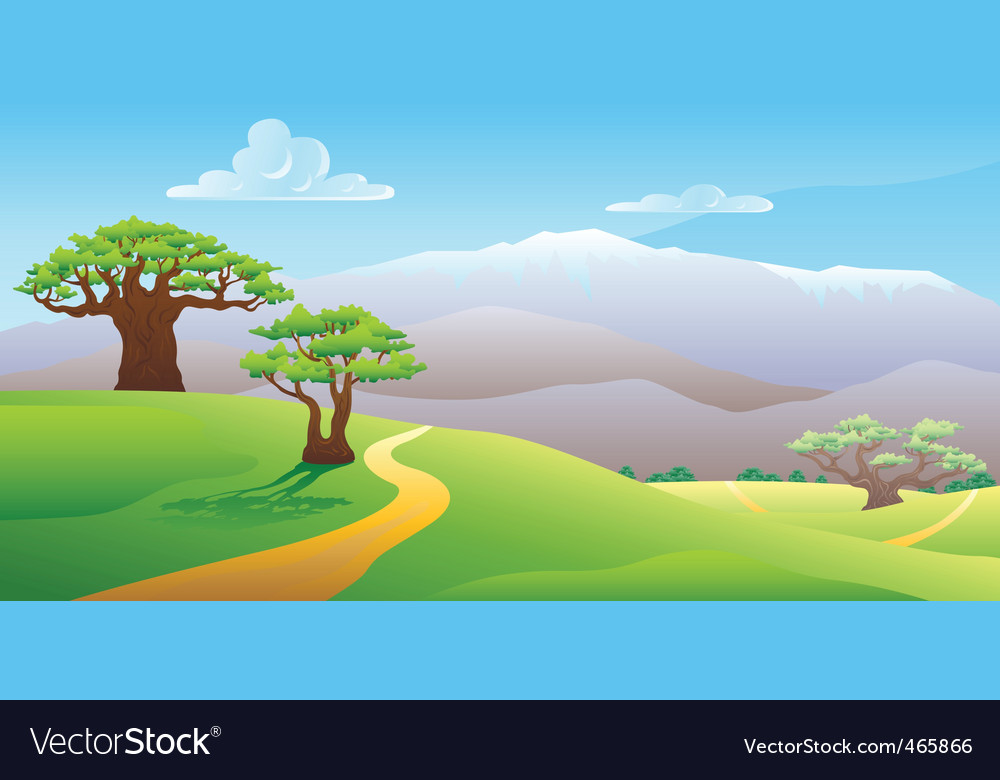 summer landscape vector illustration vector | Price: 1 Credit (USD $1)