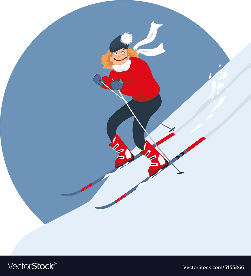 Woman alpine skiing vector | Price: 1 Credit (USD $1)