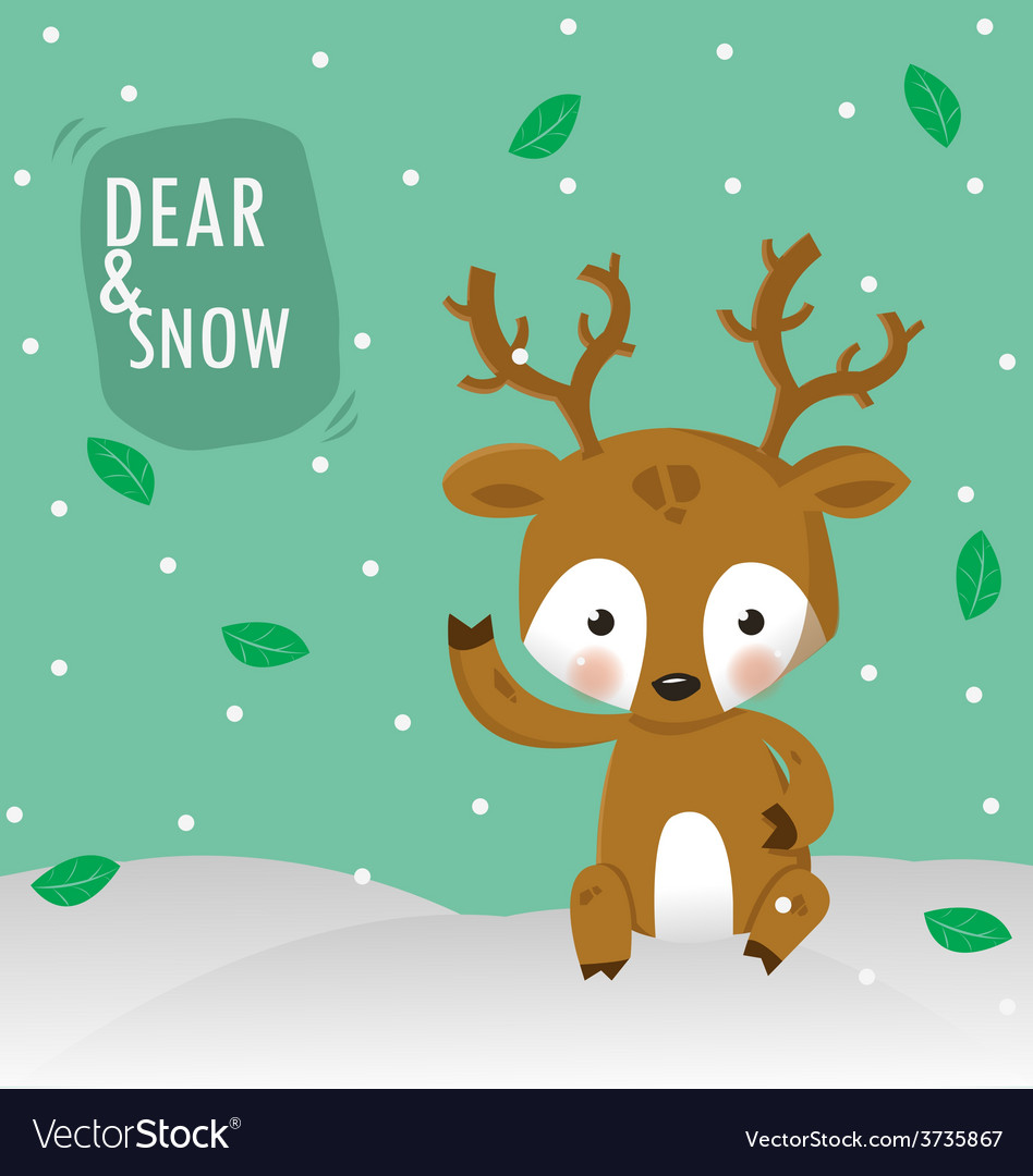 Dear and white snow vector | Price: 3 Credit (USD $3)