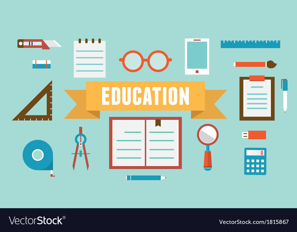 Flat set of equipment for education vector | Price: 1 Credit (USD $1)
