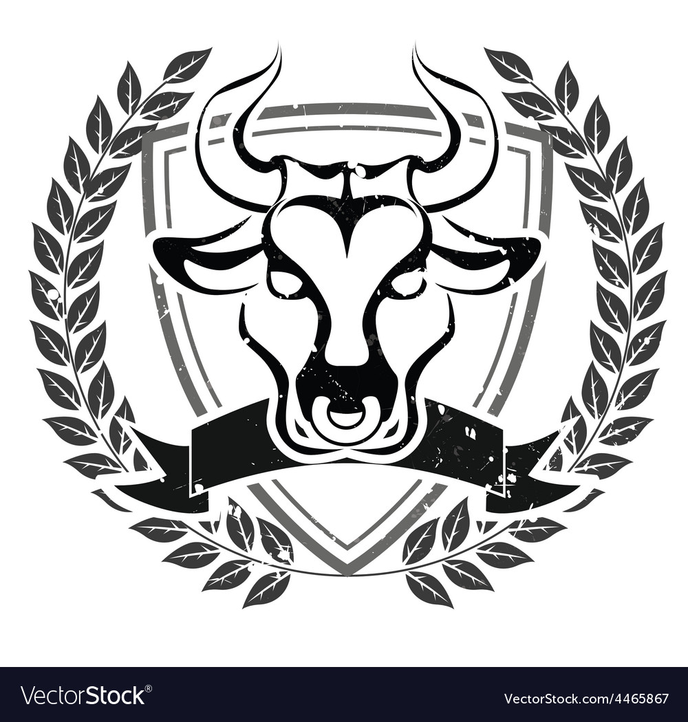 Grunge bull head emblem vector | Price: 1 Credit (USD $1)