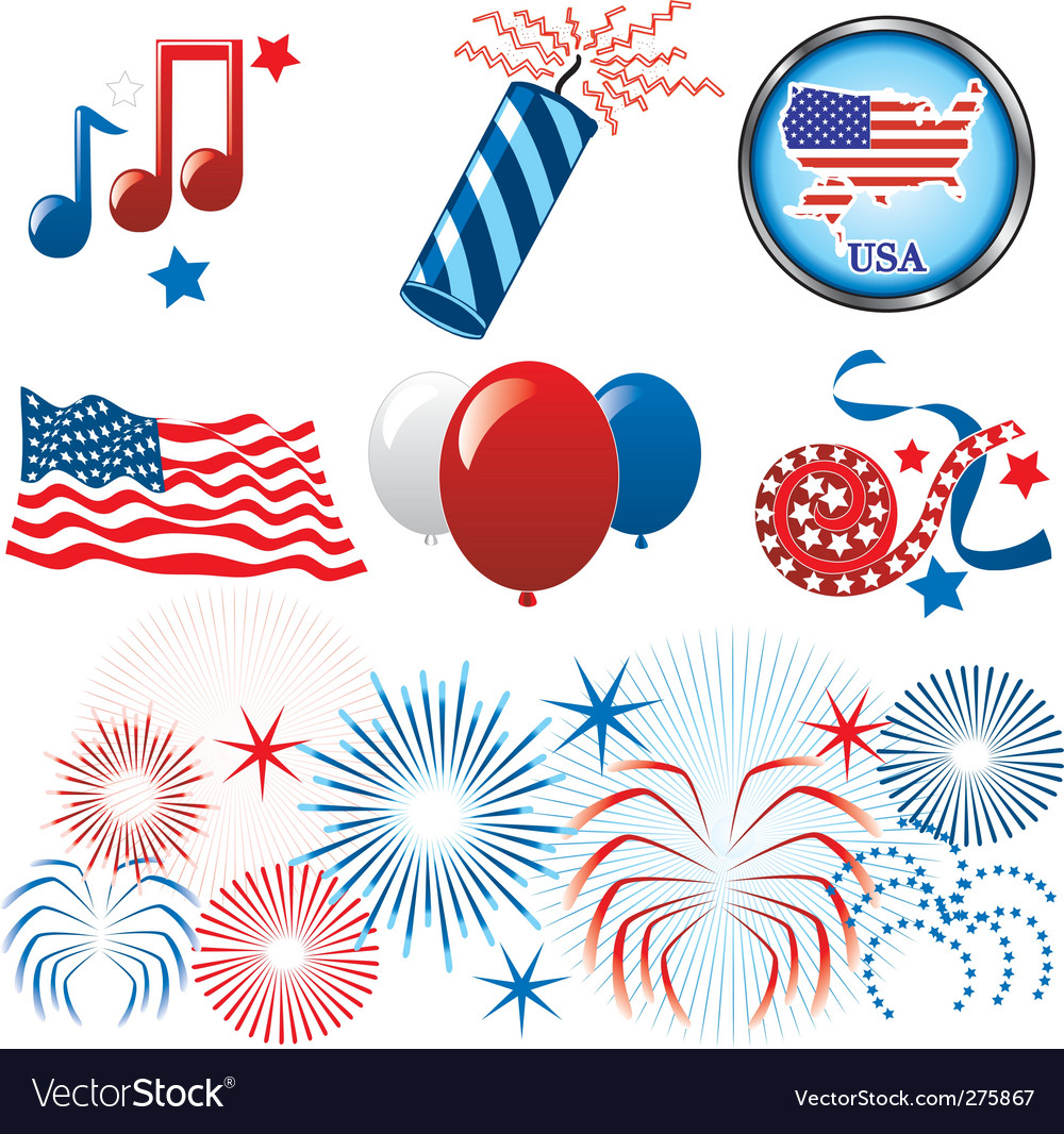 July 4th icons vector | Price: 1 Credit (USD $1)