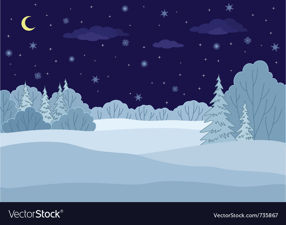 Landscape winter forest night vector | Price: 1 Credit (USD $1)