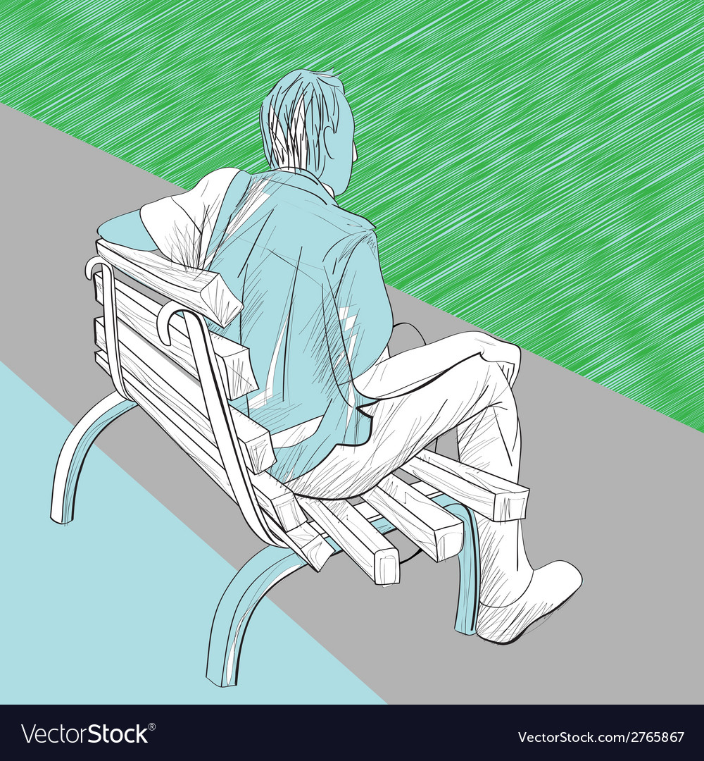 Man on the bench vector | Price: 1 Credit (USD $1)