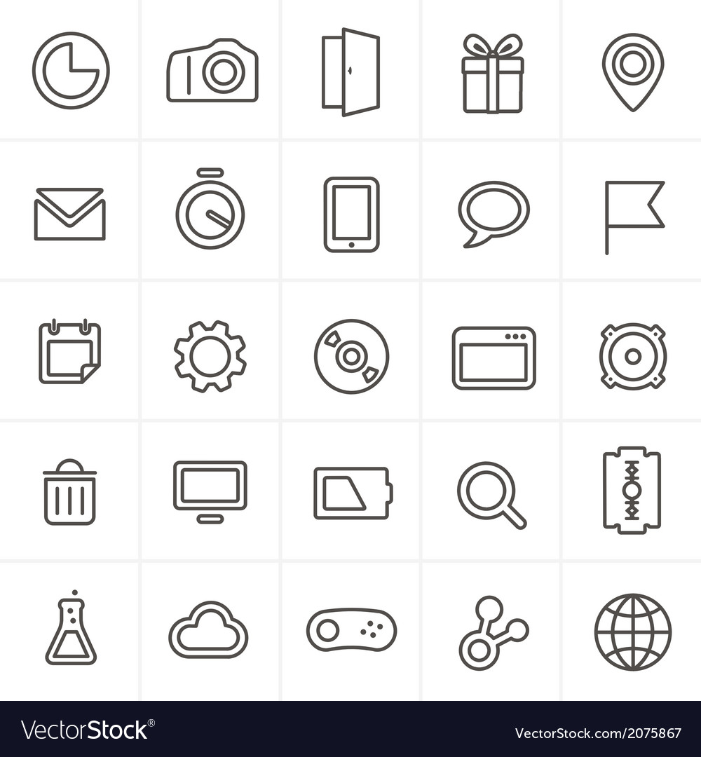 Modern web icons collection isolated on whit vector | Price: 1 Credit (USD $1)