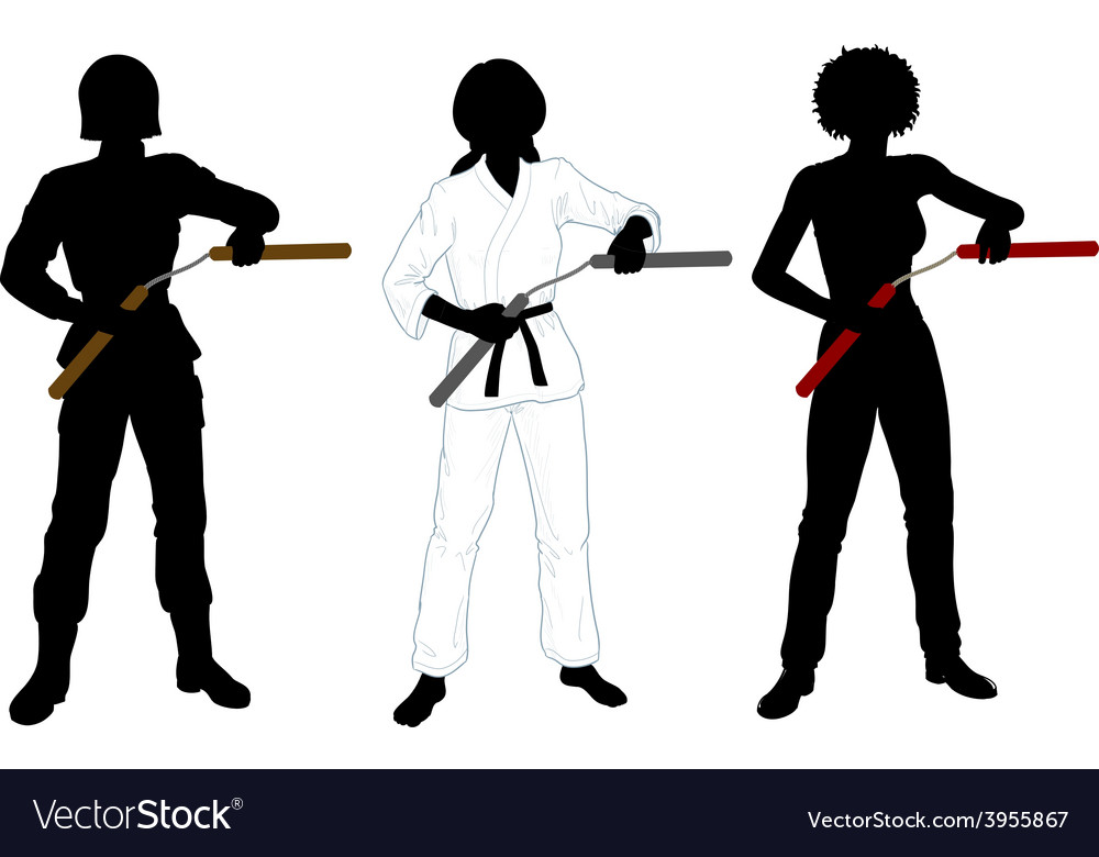 Nunchuck girl in uniform set of silhouettes vector | Price: 1 Credit (USD $1)