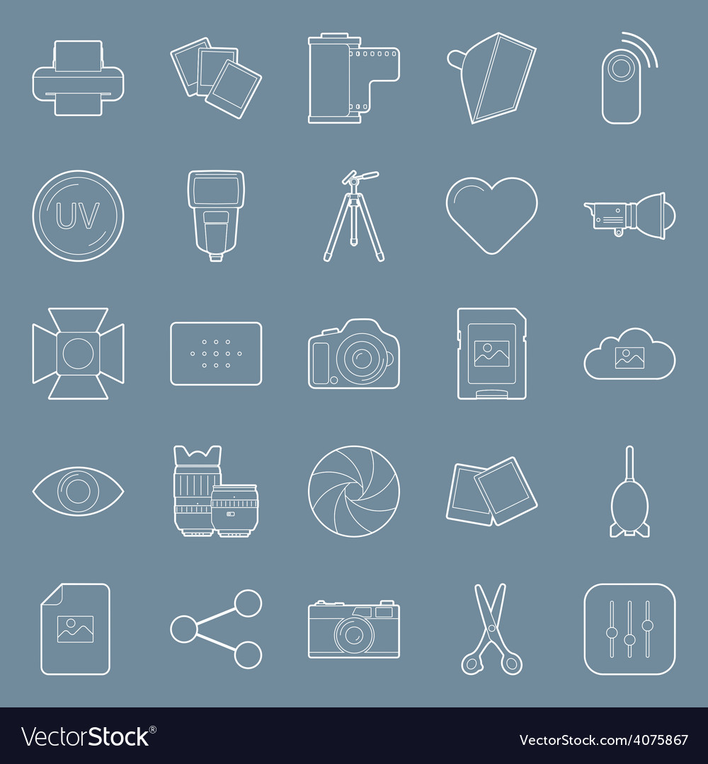 Photo equipment end editing thin lines icons set vector | Price: 1 Credit (USD $1)