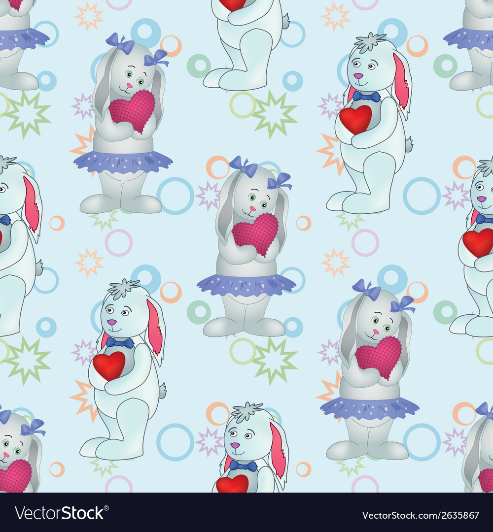 Seamless pattern bunnies with valentine hearts vector | Price: 1 Credit (USD $1)
