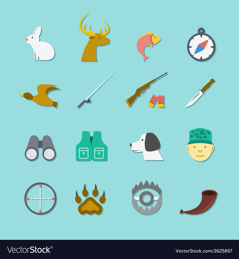 Set of hunting icons vector | Price: 1 Credit (USD $1)