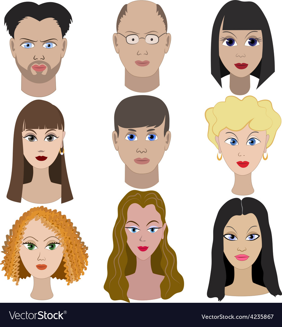Set of portraits of people full face vector | Price: 1 Credit (USD $1)