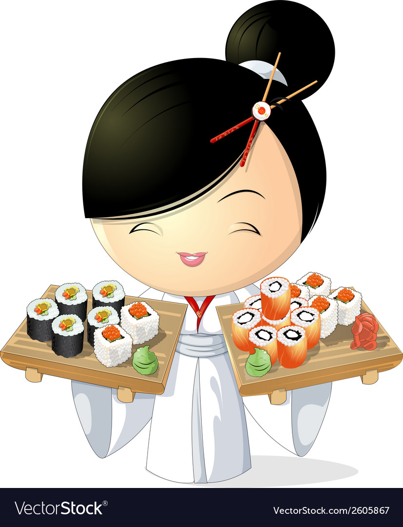Sushi girl vector | Price: 3 Credit (USD $3)