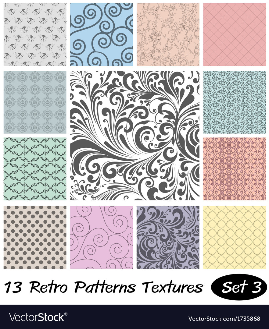 13 retro patterns textures set 3 vector | Price: 1 Credit (USD $1)