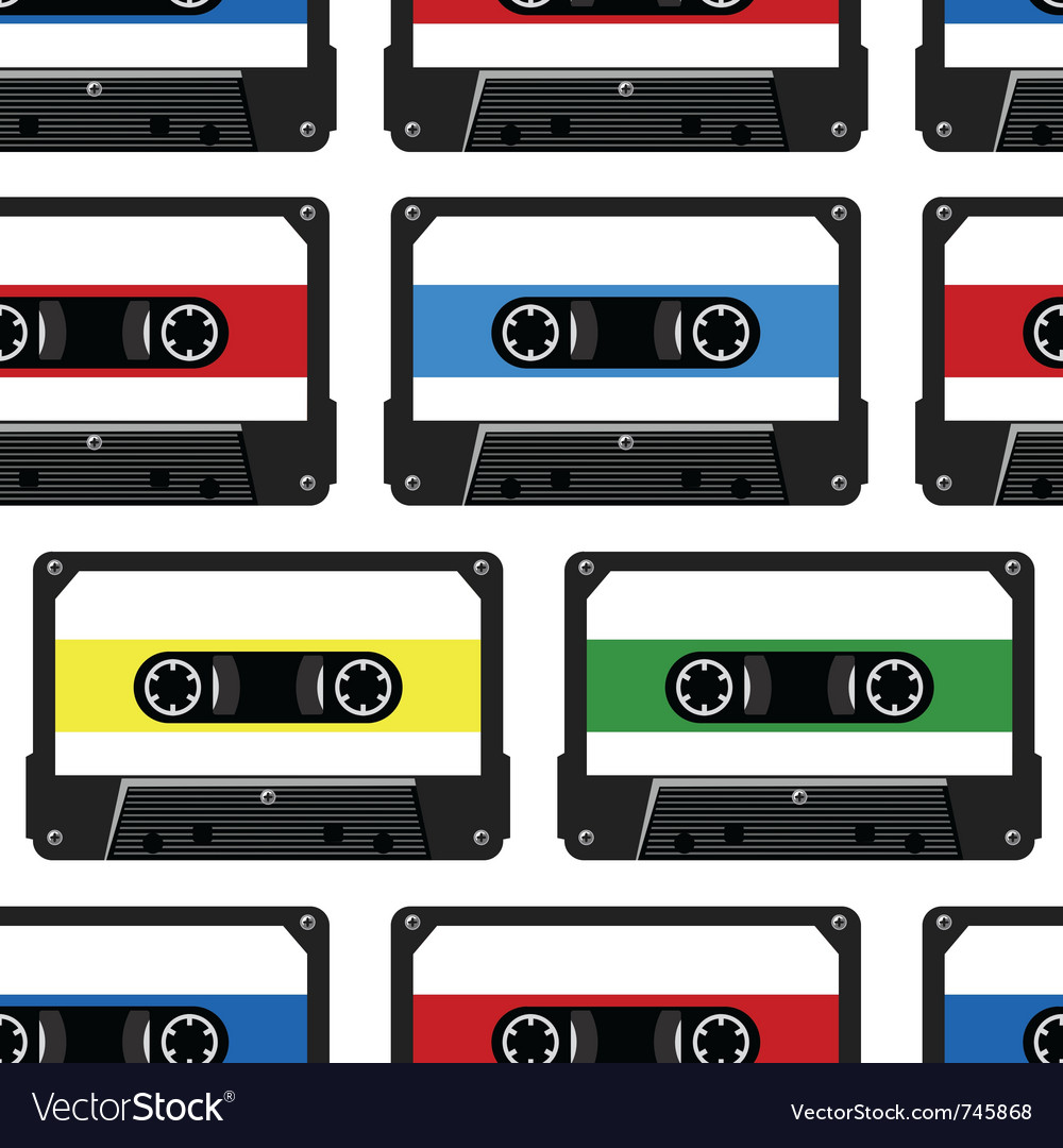 Abstract seamless background with audio cassette vector | Price: 1 Credit (USD $1)