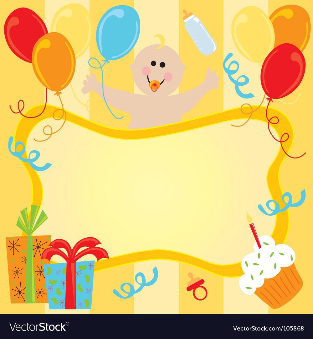 Baby girl birthday invitation vector | Price: 1 Credit (USD $1)
