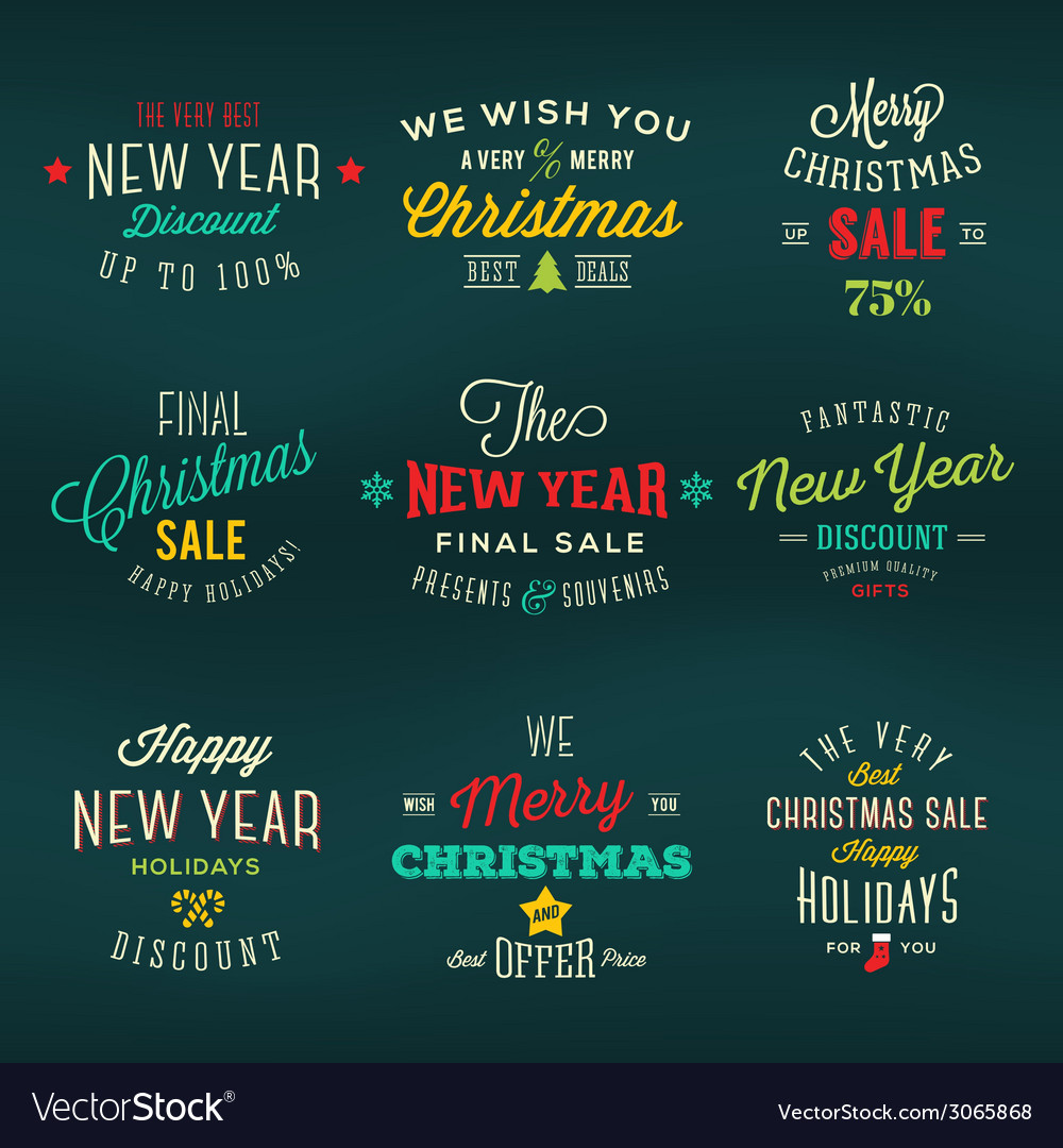 Christmas and new year vintage labels holiday vector | Price: 1 Credit (USD $1)