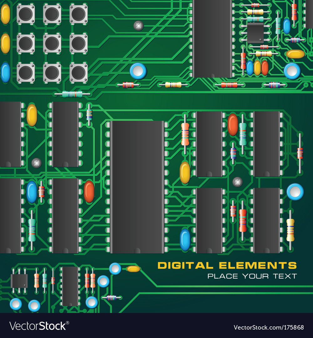 Circuit board with microchips vector | Price: 1 Credit (USD $1)