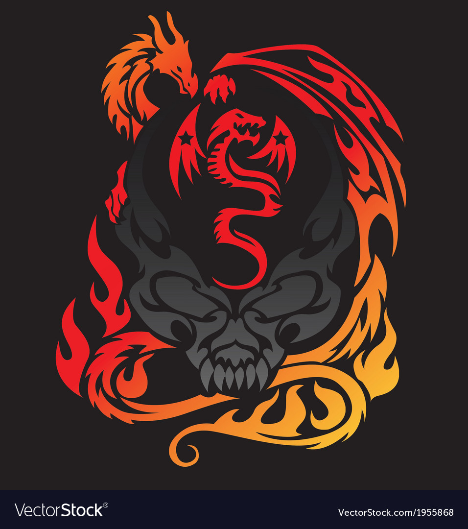 Dragon mom and baby with skull tattoo vector | Price: 1 Credit (USD $1)