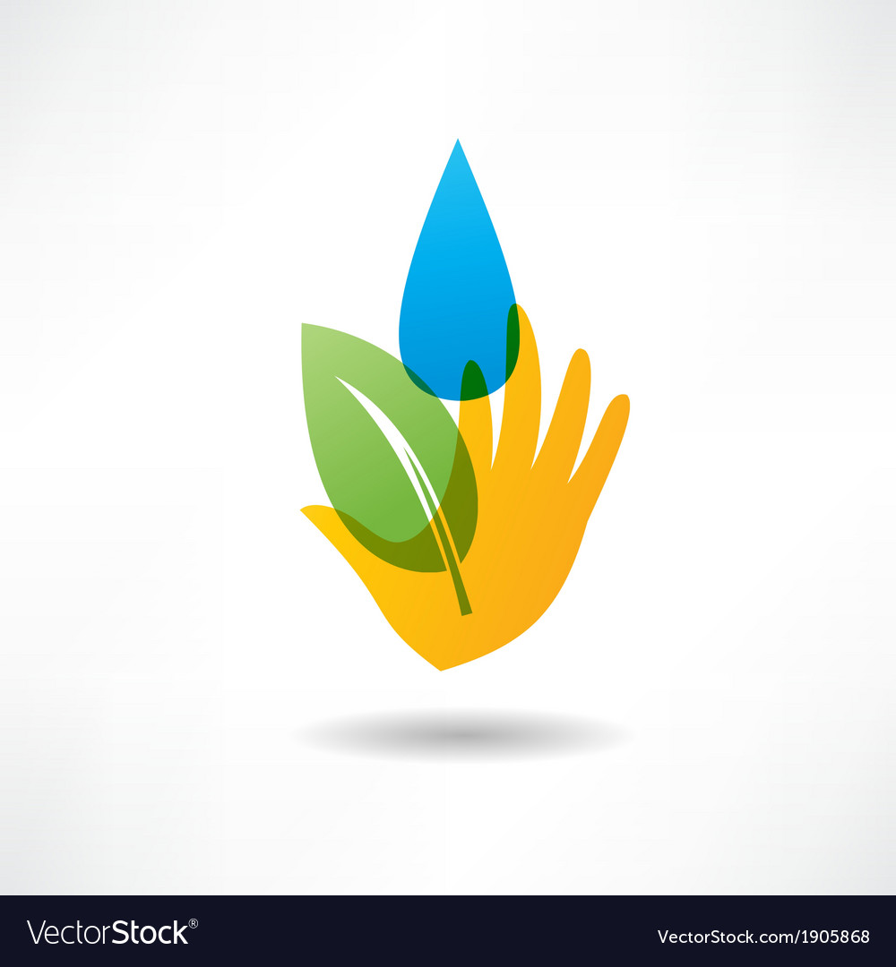 Eco concept hand and water icon vector | Price: 1 Credit (USD $1)