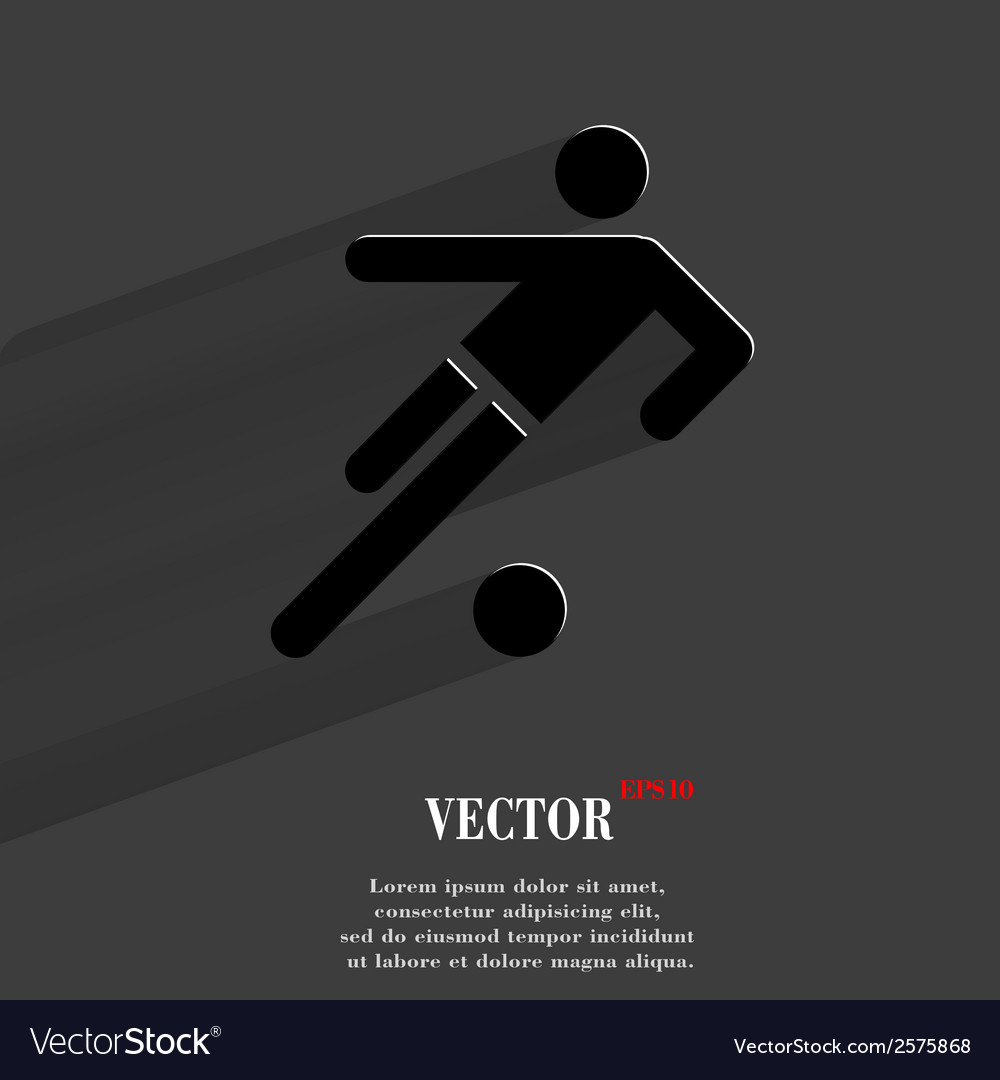 Football player flat modern web button with long vector | Price: 1 Credit (USD $1)