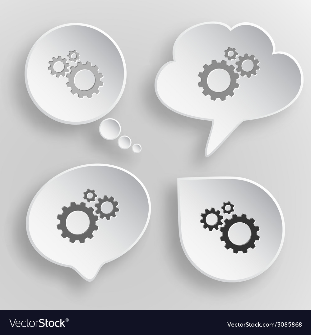 Gears white flat buttons on gray background vector | Price: 1 Credit (USD $1)
